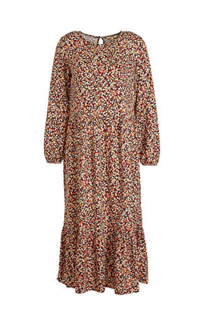 jurk met all over print en open detail zwart/oranje/geel