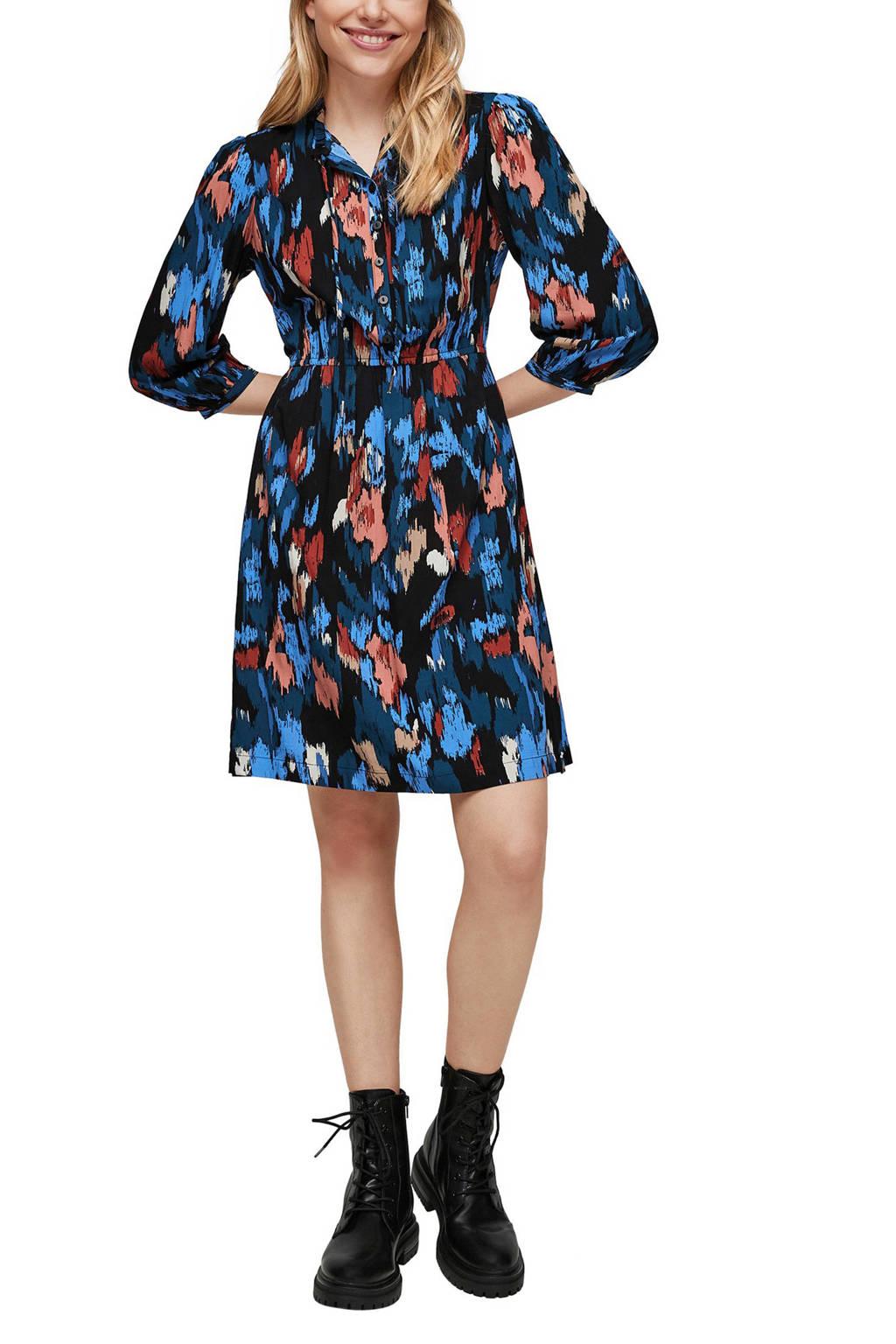Q/S designed by blousejurk met all over print en volant zwart/blauw/rood, Zwart/blauw/rood