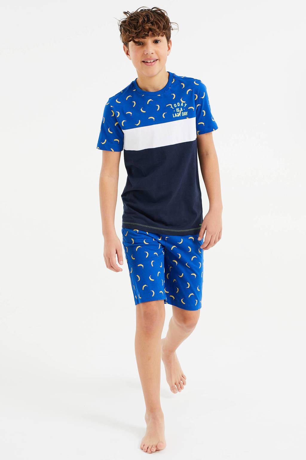 WE Fashion   shortama blauw/wit/donkerblauw, Blauw/wit/donkerblauw