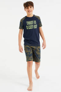 WE Fashion   shortama donkerblauw/groen, Donkerblauw/groen
