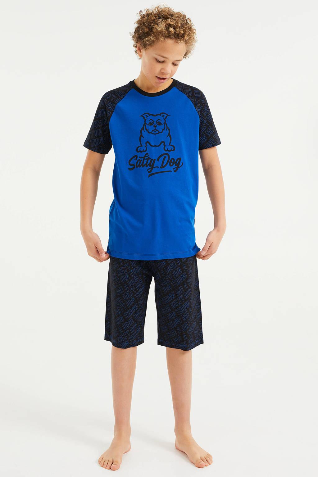 WE Fashion Salty Dog   shortama met all over print blauw/zwart, Blauw/zwart