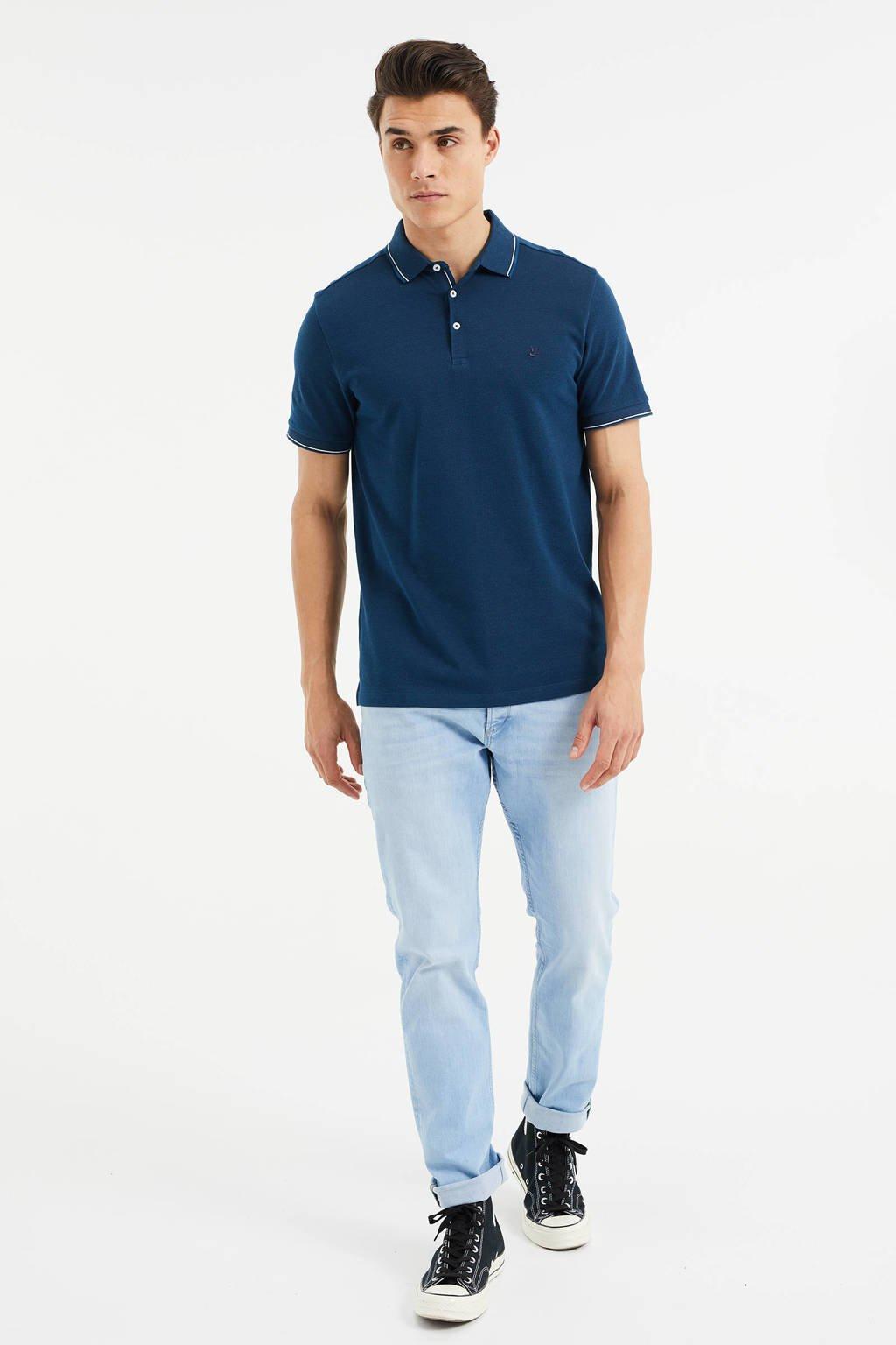 WE Fashion slim fit polo met contrastbies opal blue, Opal Blue