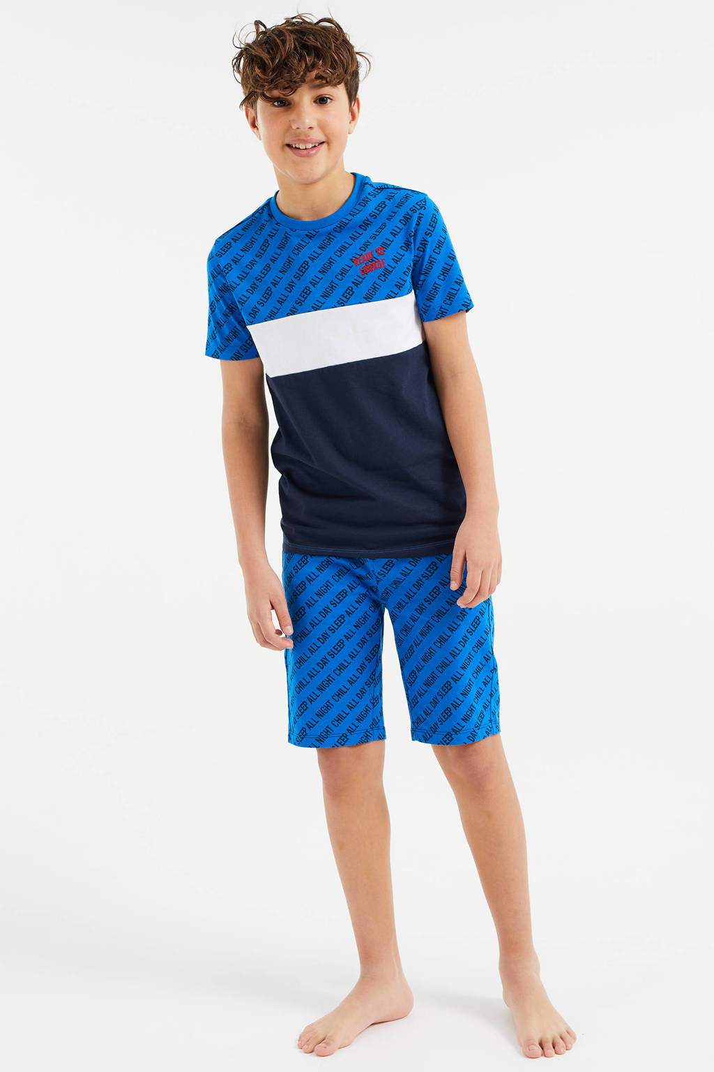 WE Fashion   shortama - set van 2 blauw/wit, Blauw/wit