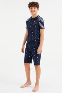 WE Fashion   shortama met all over print donkerblauw/wit, Donkerblauw/wit