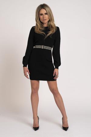 ribgebreide jurk Plum met ceintuur zwart
