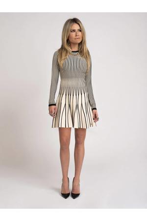gestreepte A-lijn jurk Kalli ecru/zwart
