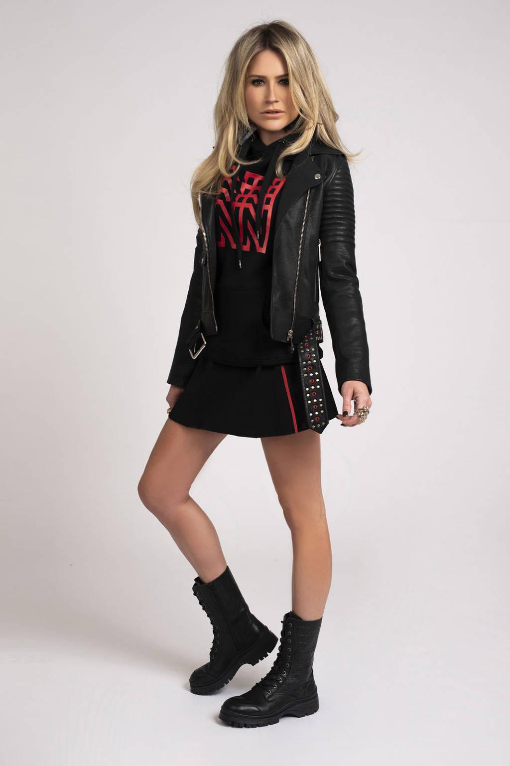 NIKKIE rok Joni met contrastbies zwart/ rood, Zwart/ rood