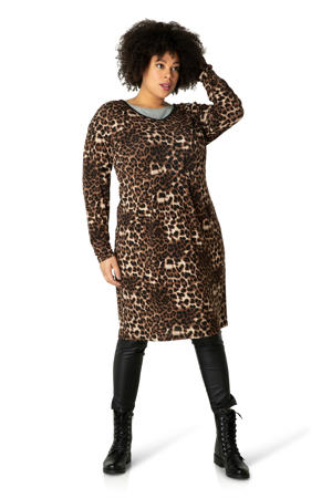 jurk met panterprint bruin/beige/zwart