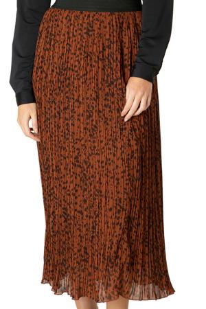 semi-transparante rok met all over print donker oranje/zwart