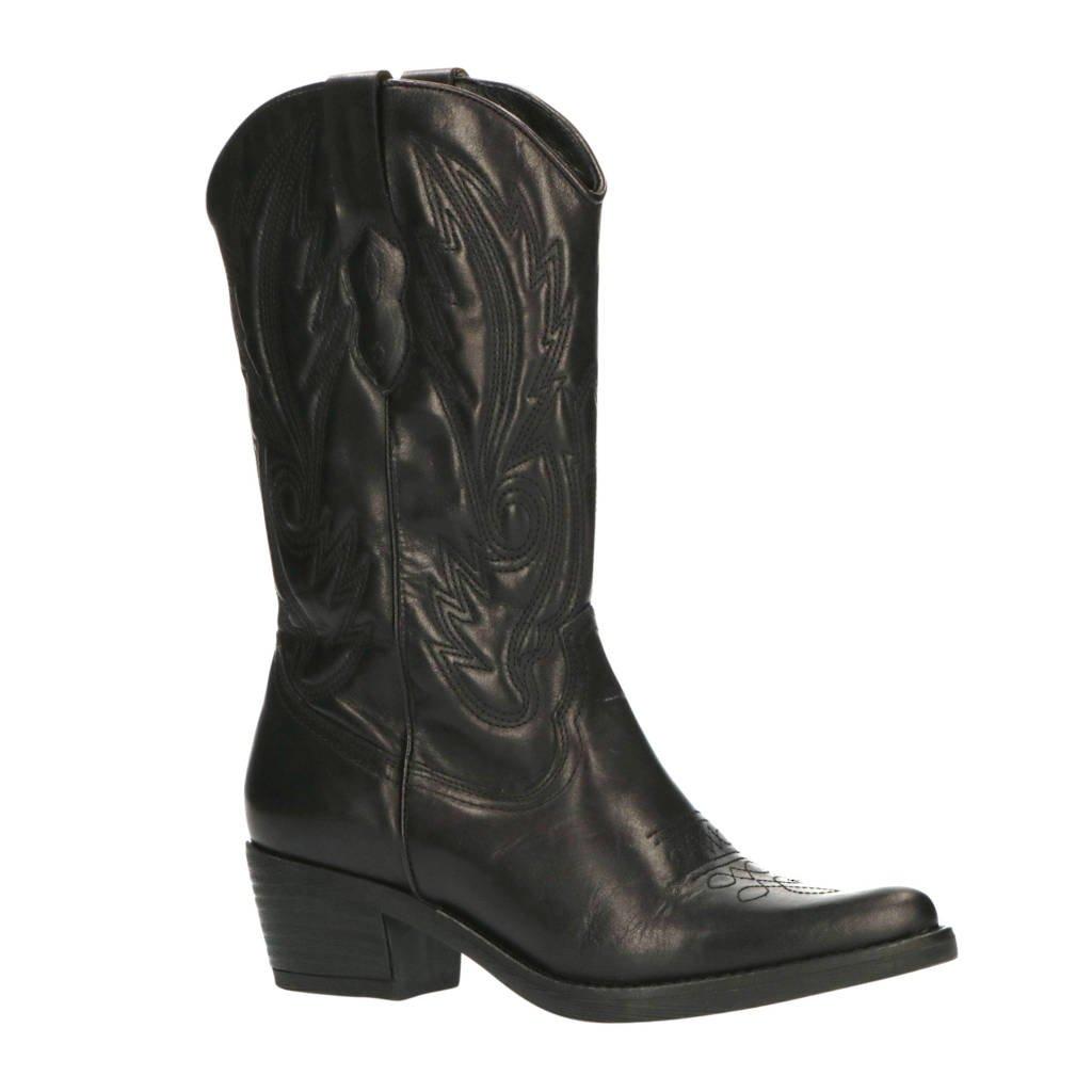 Foot Focus Valquiria  leren cowboylaarzen zwart, Zwart