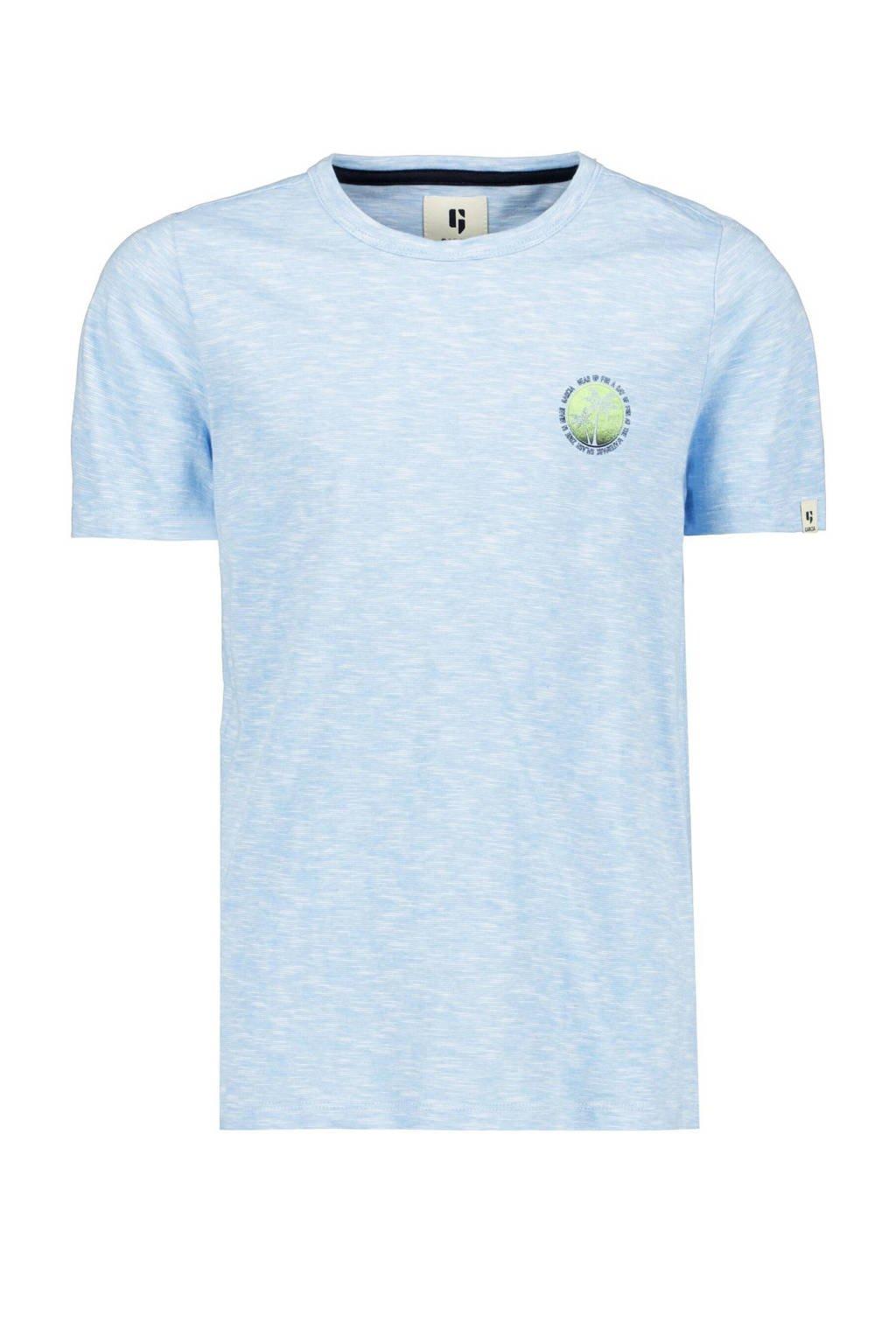 Garcia T-shirt met printopdruk lichtblauw melee, Lichtblauw melee