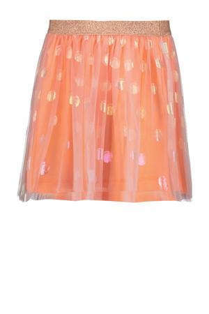 semi-transparante rok met stippen en glitters perzik neon