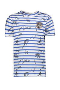Garcia T-shirt met all over print blauw/offwhite/zwart, Blauw/offwhite/zwart