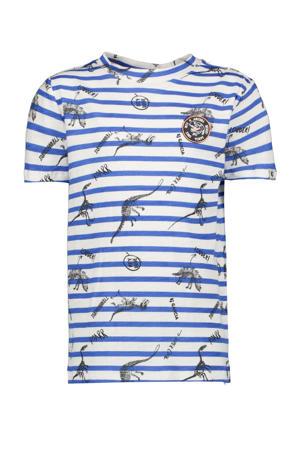 T-shirt met all over print blauw/offwhite/zwart
