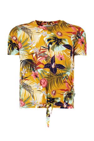 gebloemd T-shirt okergeel/multicolor