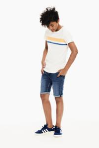 Garcia T-shirt met printopdruk en 3D applicatie offwhite/geel/blauw, Offwhite/geel/blauw