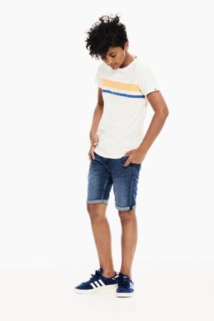 T-shirt met printopdruk en 3D applicatie offwhite/geel/blauw