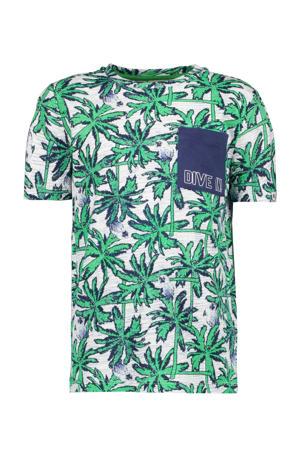 T-shirt met all over print groen/blauw/grijs melee