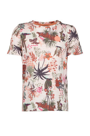 top met all over print en ruches roze/multicolor