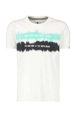 T-shirt met printopdruk offwhite/mintgroen/grijs
