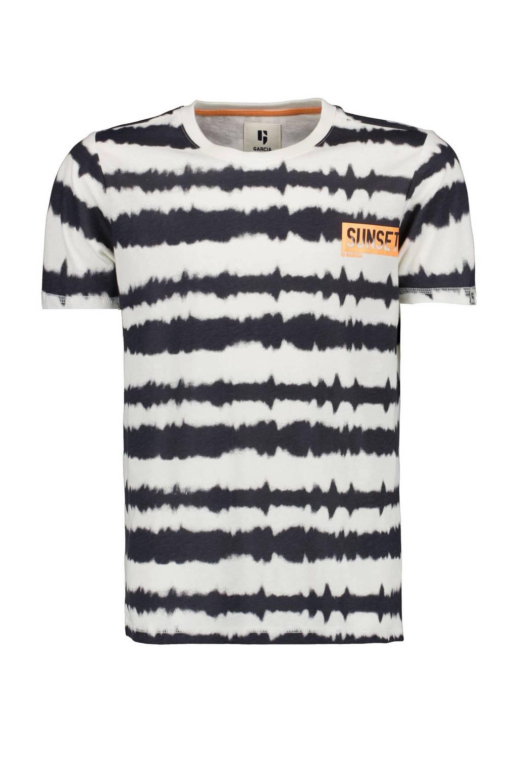 Garcia tie-dye T-shirt offwhite/zwart, Offwhite/zwart