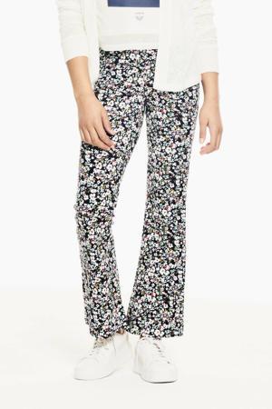 gebloemde flared broek donkerblauw/roze