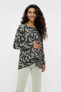 MAMALICIOUS gebloemde zwangerschapstop zwart/wit, Zwart/wit