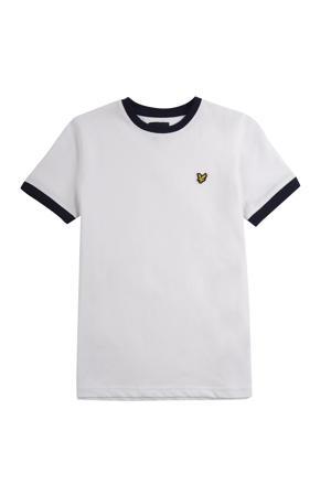 T-shirt met contrastbies wit