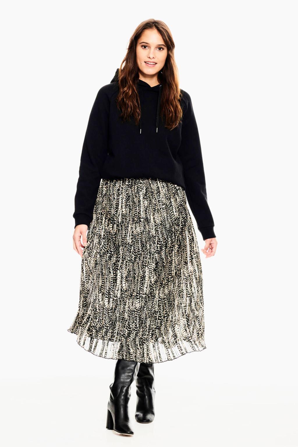 Garcia semi-transparante rok met all over print zwart/beige, Zwart/beige