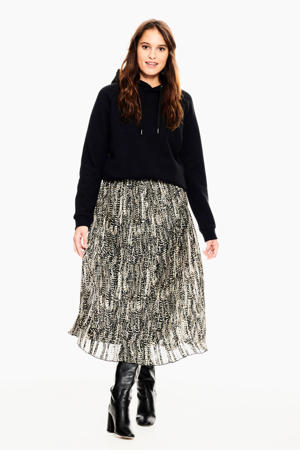 semi-transparante rok met all over print zwart/beige