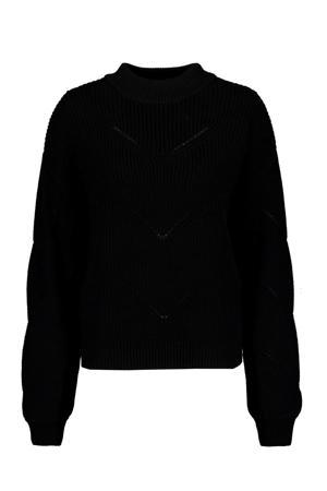 grofgebreide trui zwart