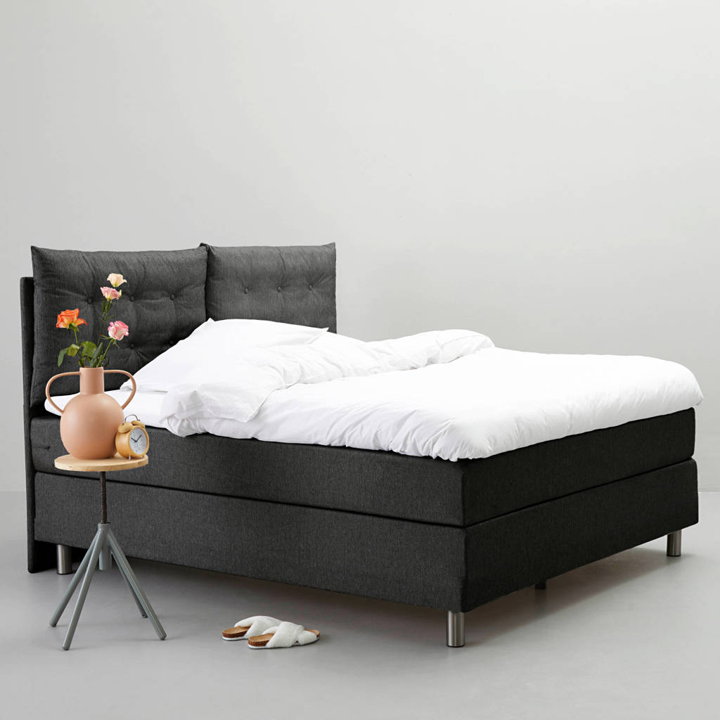 whkmp's own complete boxspring Memphis (160x200 cm), Donkergrijs