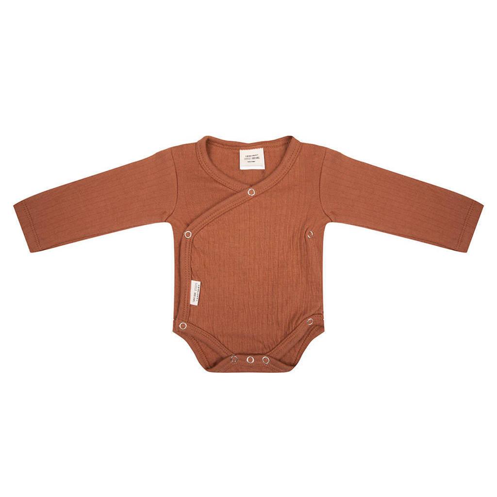 Little Indians newborn baby overslag romper bruin, Bruin