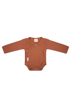 newborn baby overslag romper bruin