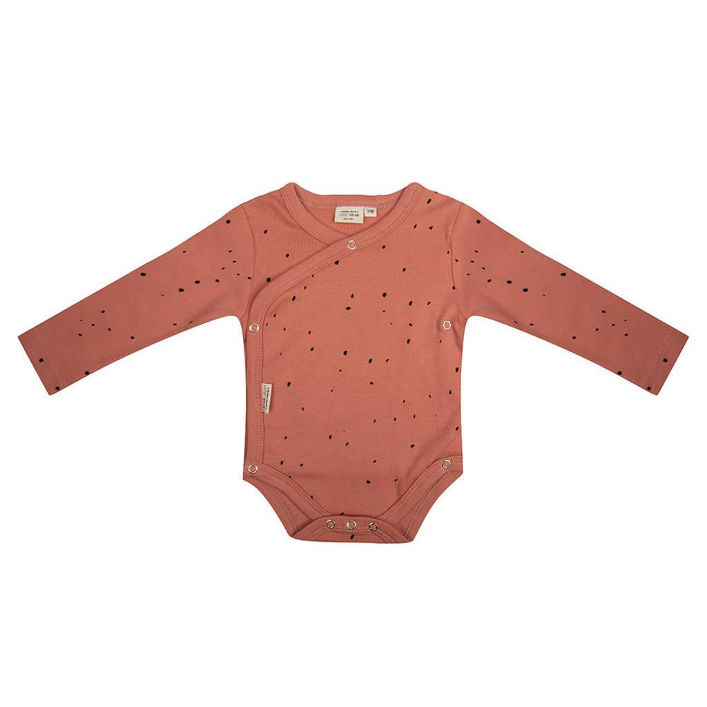 Little Indians newborn baby romper lange mouwen Dots - Canyon Clay, Roze
