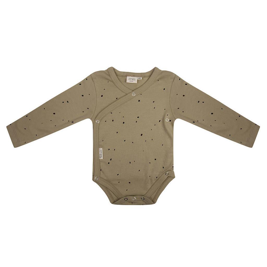 Little Indians newborn baby romper lange mouwen Dots - Sponge, Groen