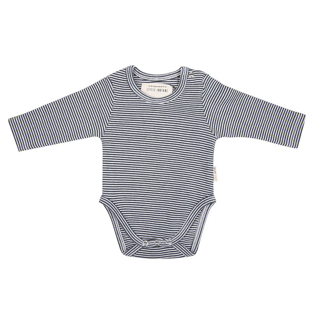 Little Indians newborn baby romper lange mouwen - Small Stripe, Blauw/wit