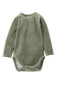 Little Indians newborn baby romper lange mouwen corduroy groen, Groen