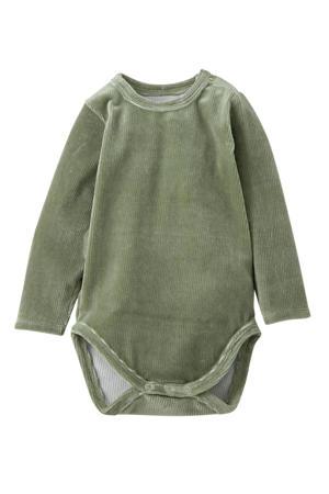 newborn baby romper lange mouwen corduroy groen