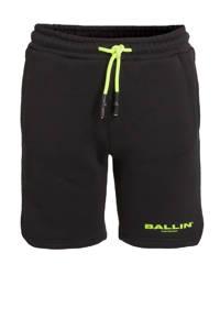 Ballin slim fit sweatshort met logo zwart/neon groen