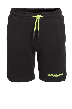 slim fit sweatshort met logo zwart/neon groen