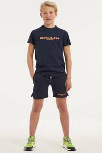 Ballin slim fit sweatshort met logo donkerblauw, Donkerblauw
