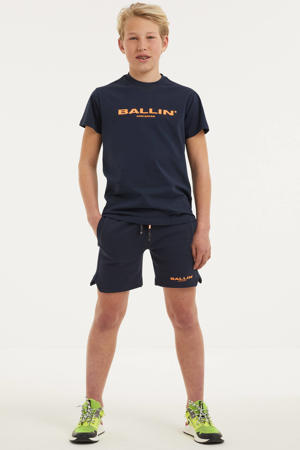 slim fit sweatshort met logo donkerblauw