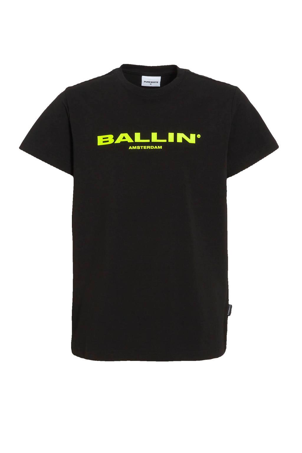 Ballin T-shirt met logo zwart/neon groen