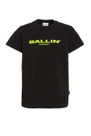 T-shirt met logo zwart/neon groen