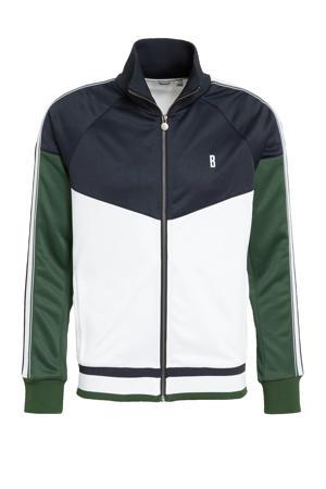 sportvest donkerblauw/groen/wit