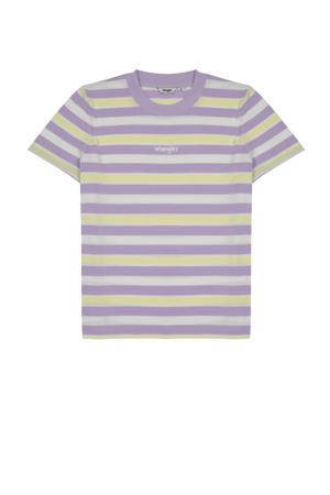 gestreept T-shirt van biologisch katoen lila/wit