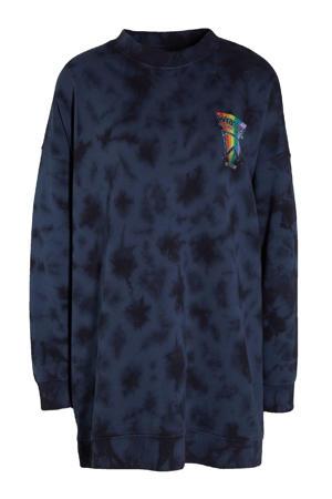 tie-dye sweater donkerblauw/zwart/multi