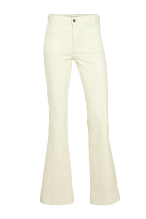 high waist flared jeans ecru