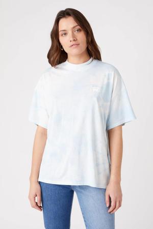 tie-dye T-shirt van biologisch katoen lichtblauw/wit